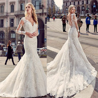 Wholesale Nice Mermaid Dress - Nice Long Sleeves Mermaid Wedding Dresses Plunging Neckline Sheer Back Full Lace Bridal Gowns Sweep Train Long Wedding Gown