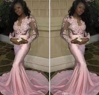 modernos vestidos largos de noche al por mayor-2017 Pareja Moda Negro Chicas Sheer Mangas Largas Vestidos de Baile Modern Mermaid Appliqued Pink Evening Party Vestidos Stretchy Tren