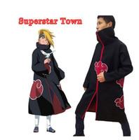 naruto cosplay venda por atacado-Uchiha Itachi Akatsuki Robes Naruto Cos Cosplay Cloak Unisex Cartoon Cloaks Party Costume Christmas Halloween Gift