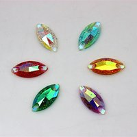 Wholesale Rhinestones Marquise Flatback - 100pcs 7*15mm Shiny AB Color Marquise Sew On Resin Rhinestones Flatback beads Sewing on Crystals With Holes ZZ153