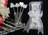 Wholesale Heart Shaped Wedding Favors - 100sets lot (4pcs set)s, Wedding favors gifts heart cake shape Stainless Steel Fruit fork.
