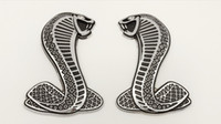 Wholesale Personalized Mustang - 2PCS BRAND NEW 3D Metal FORD MUSTANG SNAKE COBRA EMBLEMS BADGES SVT LOGO SHELBY