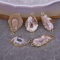 agate druzy quartz toptan satış-Doğal Akik Kuvars Geode Bağlayıcı Druzy Boncuk, Takı Yapımı için Dilim Akik Taş Bağlayıcı Boncuk
