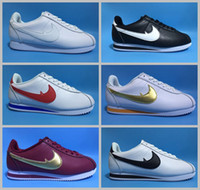 Wholesale Leisure Brand Shoes - 2017 cortez QS Leather leisure Shells famous brand Casual Shoes men women breathable fashion outdoor Sneakers size 36-44