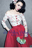 Wholesale Cap Sleeve Ball Dresses - Vintage dress slash neck ball gown cap sleeve floral red sexy & club above knee empaire