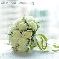 Wholesale Bridal Throw - 2017 High quality Ivory Rose flowers Bridal Throw Flower Wedding Bridal Bouquet Wedding Bridesmaid Decoration Flower