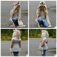 Wholesale Cute Scarves - 2 Colors Knitted Unicorn Hats Scarf Tassels Baby Winter Warm Hats Kids Cartoon Cute Unicorn Knitted Beanies Caps CCA8149 10pcs