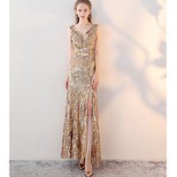 Wholesale Dh Prom Dresses - Luxury Gold Long Sequin Mremaid Evening Dresses V-Neck Sleeveless Sequined Sashes High Slit Prom Party Formal Dresses 027-DH