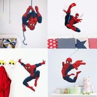 blaue spiderman spielzeug großhandel-neueste 4 Designs beliebte HERO Spiderman Cartoon Film Kinderzimmer Aufkleber Aufkleber Jungen Geburtstag Spielzeug Geschenke Aufkleber
