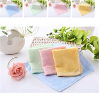 Wholesale Color Face Towels - Soft Bamboo Fibre Towel 25x25cm Small Wipes Organic Baby Flannel Face Hand Embroidered Washcloth Color Random