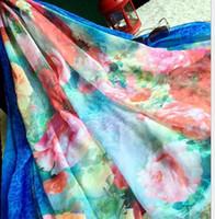 Wholesale Scarfs Fashion Style - 2016 fashion women summer pashimina blue style 175CM length flower printing large size beach scarf luxury style 5PC per set free shipping
