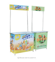 Wholesale billboard size resale online - Table Size cm Aluminium Frame Company Promotion Desk Table Rack Portable Advertising Banner Roll Up Display Stand POP Poster Removable
