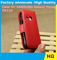 Wholesale Case Cover For Galaxy Young - Leather Case for Samsung Galaxy Young S6310 holster Wallet Cases Folio Book Cover with Kickstand Credit Card Holder, Cash Clip 500x