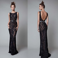 Wholesale Silver Full Length Evening Gown - 2017 Berta Beading Backless Dresses Evening Wear Mermaid Black Full Lace Evening Gowns Floor Length Formal Dress