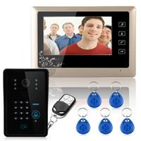 "Wholesale Unlock Phone Code - Free Shipping! Wired 7"" Video Door Phone Intercom System RFID Keypad Code Number Doorbell Camera Monitor1000TVL Wireless unlocks"