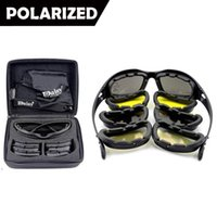 Wholesale Vision Cases - Daisy C5 Polarized Army Sunglasses 4 Lenses, UV400 Military Goggles, Night Vision Sports Sun Glasses with Hard Case, War Game Glasses