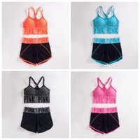 Wholesale Yoga V Neck Sport Bras - Pink Letter Yoga Suit Women PINK Tracksuit Running Underwear Set Runner Outfits Summer Sport Wear Fitness Bra Shorts Gym Top Vest Pants 2985