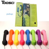 Wholesale Retro Phone Handset Wholesale - 3.5mm Retro Phone Telephone Radiation-proof Receivers Cellphone Handset For iPhone 4 5 6 7 Classic Headphone MIC Microphone