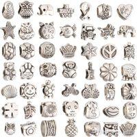 metal solto contas pandora venda por atacado-Mix Estilo de prata banhado Big Hole Solta Beads metais encantos Para Pandora DIY Pulseira Jóias Para Encantos Europeus PulseiraColar