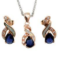 opala safira ouro venda por atacado-Conjuntos de Jóias de Presente de natal Branco Natural Opal Rose Banhado A Ouro Azul Safira 8 Design Pingente de Colar Brinco OPJS9