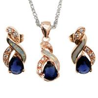 pendientes de zafiro azul oro al por mayor-Regalo de Navidad Conjuntos de Joyas Natural Blanco Opal Rose Gold Plated Blue Zafiro 8 Diseño Colgante Collar Pendiente OPJS9