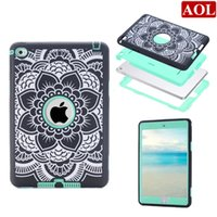 Wholesale Ipad Mini Silicon Cases - Laser Carving Florals For iPad mini 1 2 3 4 7.9inch Silicon + PC Protective Case Kids Safe Shockproof Heavy Duty Case Cover