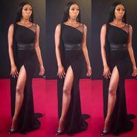 ingrosso cintura nera aperta-Skinny Girl Black One spalla prospettiva cintura alta Prom Dresses Leg Split Open Fork Impero Fold importante occasione Prom Dress