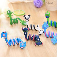 Long Cabo Winder Cute Cartoon Animal Headphone Fone de ouvido Organizador Wire Holder Ação Toy Figures Set