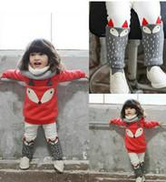 Wholesale Wholesale Toddler Sweatshirts - Babies outfit boys girls cute fox sweatshirt tops+dots pants 2 pcs sets autumn winter new toddler kids thicken sets A9373