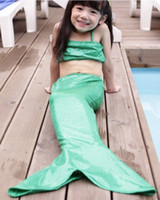 Wholesale Sequin Kids Tank Top - 2016 Girls Kids Swimwear Baby Girls Sequins Mermaid Three Pieces Sets Swimsuit Tank Top+Skirt+Short Cute Children Swiming Clothes 1 Piece