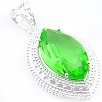 Wholesale Man Grass Plant - Unique Grass Green Fire Quartz Gemstone 925 Sterling Silver Pendants Necklace for Women Men Holiday Gifts