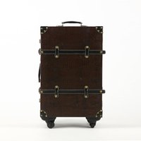 Wholesale Wood Suitcase - Wholesale-2016 PU+Wood Retro Rolling Luggage Spinner 20 Inch Boarding Box Travel Bag Luggage Set