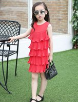 Wholesale Lace Skirt Cake For Girls - Children's clothing 2016 summer girls cotton Cake dress one-neck dress Pleated skirt lace Vest skirt for 4-14 years old baby.
