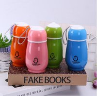 Wholesale Drinking Bottle Kids - 4 Colors 300ml Kids Penguin Tumblers Penguin Stainless Steel Water Bottle Drinking Bottles Double Wall Vacuum Insulated Cups CCA7214 20pcs