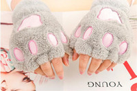Wholesale bear paw gloves claws resale online - 160pcs Woman Winter Fluffy Bear Cat Plush Paw Claw Glove Novelty soft toweling lady s half covered Fingerless loves Christmas gift R050