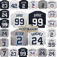 Wholesale Embroidery Baseball Jerseys - Men's 99 Aaron Judge 2 Derek Jeter 24 Gary Sanchez Jersey 23 Don Mattingly 3 Babe Ruth 7 Mickey Mantle Jerseys Embroidery Logos