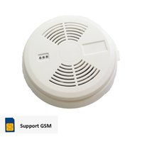 Wholesale Smoke Detectors Optical - SIM card 850 900 1800 1900MHz Optical Labyrinth 5 dial number   5 SMS number intelligent GSM Smoke Detector