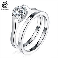 Wholesale Ladies Accessories Rings - Classical Stainless Steel Wedding Ring Sets for Women Bijoux Lady Vintage Luxury Shiny CZ Diamond Jewelry Accessories GTR19