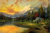 Wholesale Framing Oil Paintings - Thomas Kinkade Landscape Oil Painting Reproduction High Quality Giclee Print on Canvas Modern Home Art Decor TK078