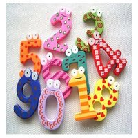 Wholesale Wooden Magnet Number - 10pcs Hot Sale Cartoon Cute 0-9 Wooden Number Magnet Kid Child Math Xmas Gift Toy