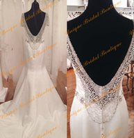 Wholesale Satin Bridal Sleeves - 2016 Major Beading Wedding Dresses with Short Sleeves and Open Back Real Pictures Crystals Satin Mermaid Bridal Gowns Custom Made