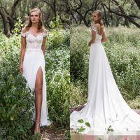 Wholesale Unique Lace Dresses - Limor Rosen 2017 Garden Wedding Dresses Sexy Sheer Jewel Short Sleeve A Line Thigh-High Slits Lace Applique Beads Unique Bridal Gowns