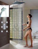"Wholesale 24 Inch Shower Head Led - 24"" Rainfall Temperature Sensitive LED 3 Colors Shower Head 4 Inch Massage Shower Body Spray Rainfall Bath Shower Faucet 008-24-6MH"