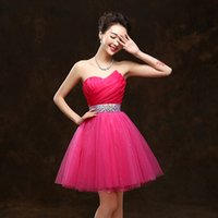 Wholesale Sparkly Mini Prom Dress - Free Shipping!Sparkly Beaded Prom Dresses Organza A-Line White Blue Purple Vintage Short Puffy Evening Dress