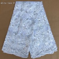 Wholesale White Lace Trim Fabric - african laces fabrics white french laces nigerian lace fabrics white ankara lace fabric evening dress fabric sequins trim 5 yards