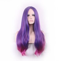 Wholesale Sexy Lolita Wig - WoodFestival women sexy long wavy wigs ombre pink to purple hair wigs cosplay costume ladies wig curly fiber synthetic wig lolita