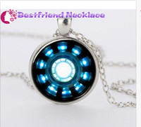 Wholesale Iron Man Arc - necklace leather necklaces pendants aromatherapy pendants Iron Man Arc Reactor Glass Dome Silver necklace for women men Jewelry#T17
