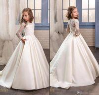 uzun kollu beyaz çiçek kız elbiseleri toptan satış-Prenses Beyaz Dantel Çiçek Kız Elbise Düğün Için 2018 Sheer Uzun Kollu İlk Communion Doğum Günü Partisi Elbise Kız Pageant Elbise