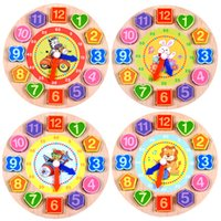 Wholesale Wooden Clock Puzzle - Puzzles Games 1Pcs Set Animal Cartoon Educational Toys For Children Digital Wooden Clock Beaded 4 Models