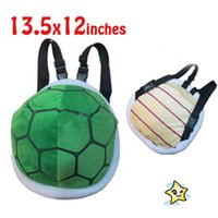 Barato Shell De Video-Super Mairo Plush Backpack animados Mario Cubo Turtle Shell Infantil Mochila Mini Anime Plush Backpack bebê Mochila Para Xmas Presente de aniversário